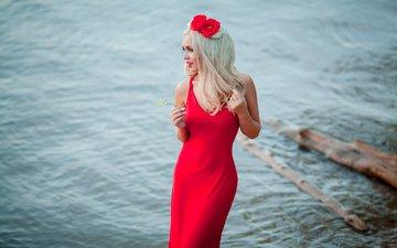 девушка, платье, поза, блондинка, тело, красное