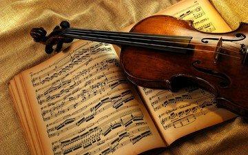 ноты, скрипка, музыкальный инструмент