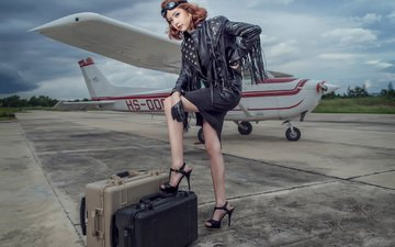girl, the plane, legs, suitcases