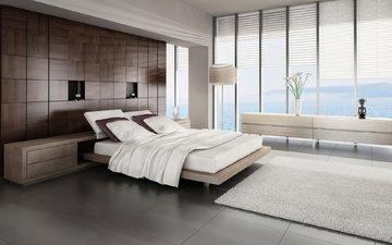 стиль, интерьер, спальня