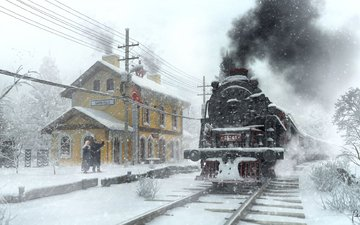 art, station, winter, the engine