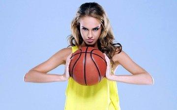 девушка, спорт, мяч