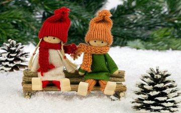 снег, новый год, игрушки, ели, шишки
