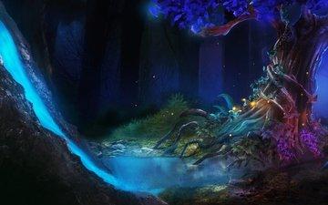 art, fantasy, fantastic forest, neon river