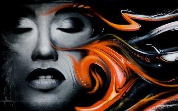 рисунок, девушка, стена, лицо, граффити