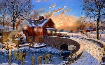дорога, деревья, мостик, зима, дома, силуэты, живопись, каток