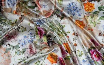 цветы, текстура, стиль, узор, лепестки, белый, ромашка, блеск, ткань, стебли, мягкость, шелк, мода, складки, текстиль, пион, ноготки, незабудка