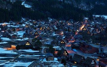 свет, ночь, огни, город, деревня, япония, дома, токио