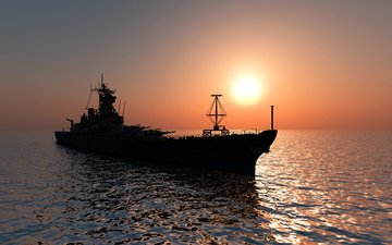 sunset, sea, ship, helicopter, military ship