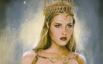 art, background, look, queen, fantasy