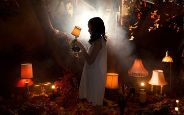 light, girl, creative, lamp