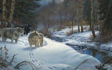 деревья, снег, лес, зима, ручей, следы, волки, живопись, valley of shadows, вигвамы