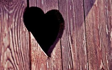 дерево, текстура, сердце, доски