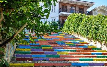 деревья, пейзаж, краски, дом, двор, ступени