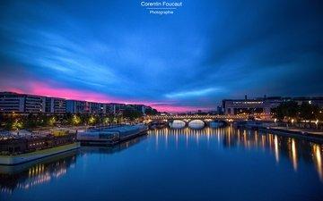 ночь, река, мост, париж, франция