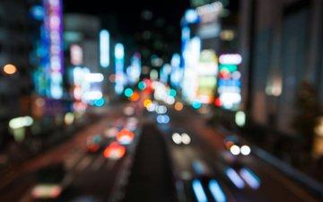 night, lights, japan, tokyo, bokeh