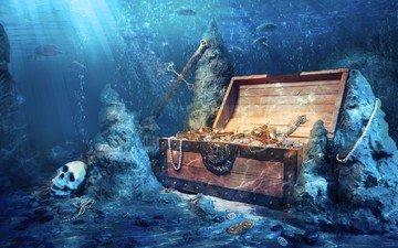 art, fantasy, skull, treasure, chest