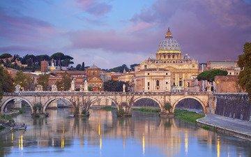 небо, облака, пейзаж, мост, дома, италия, рим, собор святого петра, река тибр