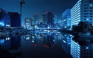 ночь, огни, город, япония, токио