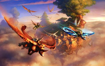 art, flight, the city, fantasy, in the sky, creatures, flying