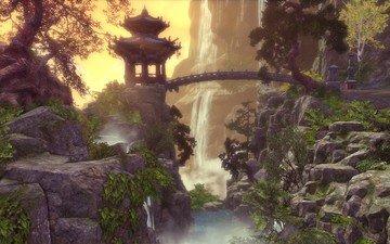 арт, пейзаж, мост, водопад, беседка, 3д, горы.река
