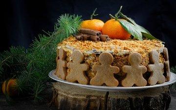 корица, человечки, ель, торт, мандарины, медовик