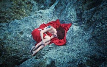 фото, тату, красивая, спящая девушка, загадочная