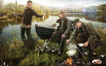 boat, men, the fire, fish, fishing