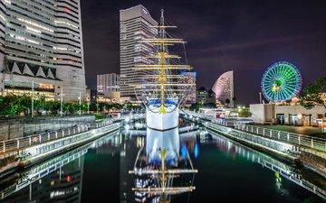 ночь, огни, корабль, канал, япония, дома, токио, nippon-maru