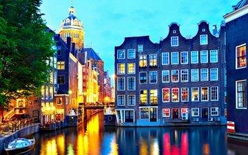 огни, вечер, город, канал, амстердам
