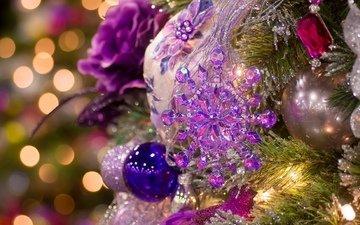 огни, новый год, елка, шары, украшения, ветки, гирлянды, игрушки, праздник, рождество, фонарики