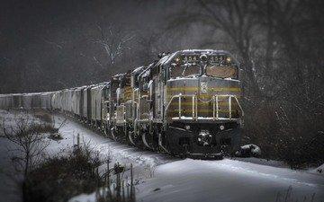 winter, train, composition
