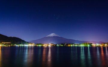 ночь, огни, япония, токио, фудзияма
