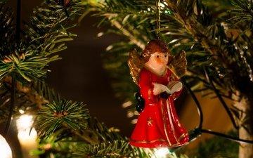 новый год, елка, игрушка, ангел, праздник, огоньки