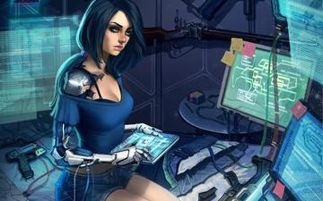 art, girl, fiction, look, cyborg, monitors, technology, sci-fi