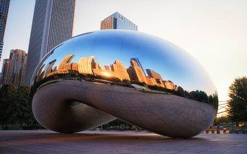 отражение, чикаго, иллиноис, миллениум парк, сhicago, монумент, spaceship earth