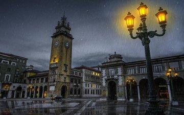 свет, ночь, огни, отражение, город, башня, фонарь, италия, дождь, площадь, дождь.ночь, papageorgiou dimitris, бергамо