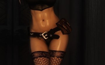 девушка, игра, тело, скайрим