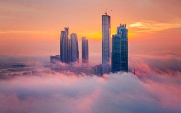 туман, город, высотки
