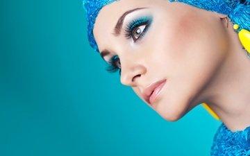 style, background, look, earrings, eyelashes, girl. model, profile. makeup