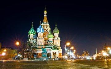 ночь, огни, москва, памятник, собор василия блаженного