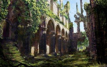 art, fantasy, ghost town