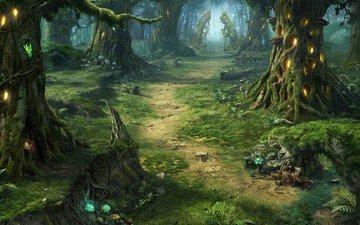 art, fantasy, fantastic forest