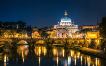ночь, огни, мост, италия, рим, ватикан