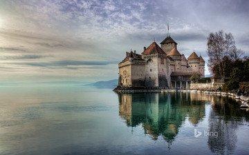 castle, switzerland, architecture, chillon castle, bing