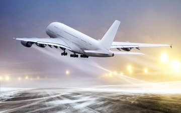 snow, winter, the plane, the rise, airbus a380, airbus