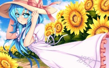 art, girl, field, look, sunflowers, the wind, surprise, hat, gesture, sekigan, yoshino, date a live
