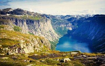 озеро, горы, скалы, камни, ущелье, норвегия, лофотенские