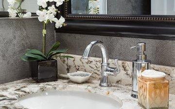 зеркало, кран, орхидея, раковина, ванная комната, умывальник