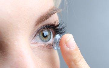 глаз, пальцы, женщина, пальцев, глазок, линзы, contact lens